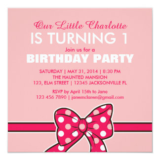 子供のためのピンクの水玉模様のリボンの誕生日の招待状 カード
