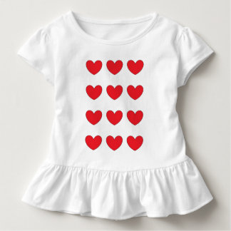 子供のための赤いハートの服 トドラーTシャツ