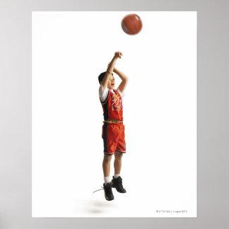 子供のアフリカ系アメリカ人のオスのバスケットボール選手 ポスター