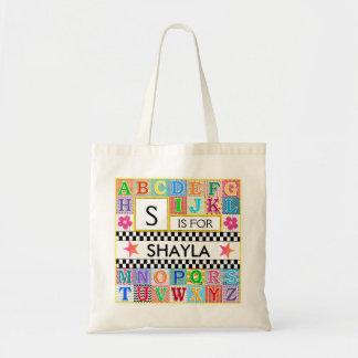 子供のアルファベットの美術学校のピンクの星 トートバッグ