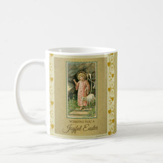 子供のイエス・キリストの子ヒツジの金ゴールドのハートイースター コーヒーマグカップ