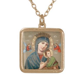 子供のイエス・キリストアイコンネックレスを持つ賛美された聖母マリア ゴールドプレートネックレス