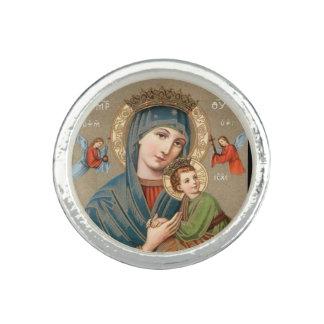 子供のイエス・キリストアイコンリングを握っている聖母マリア 指輪