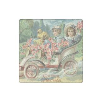 子供のイースターひよこのヴィンテージ車の花柄 ストーンマグネット