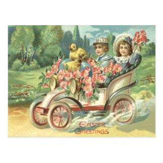 子供のイースターひよこのヴィンテージ車の花柄 ポストカード