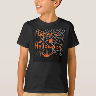 子供のオレンジハロウィンのくも Tシャツ