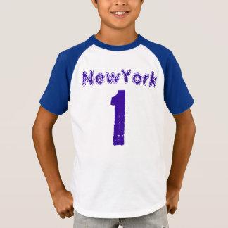 子供のオーガスタのレトロのストライプのな袖のV首のTシャツ Tシャツ