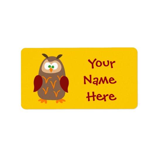 子供のキャンプのフクロウ 宛名ラベル