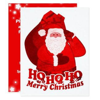 子供のクリスマスのパーティの招待状のサンタの赤 カード