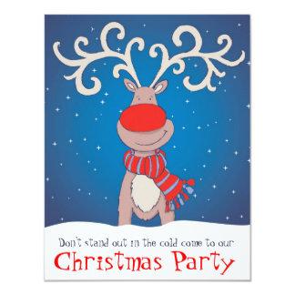 子供のクリスマスのパーティの招待状はトナカイ雪が降りました カード
