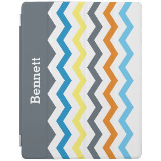 子供のシェブロンの名前入りな灰色の青いオレンジ黄色 iPadスマートカバー