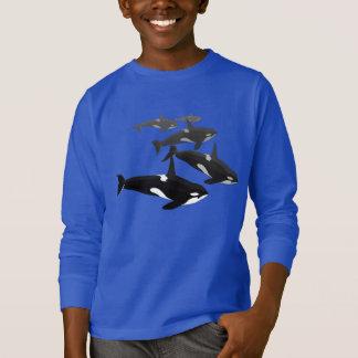 子供のシャチのクジラのスエットシャツのシャチのワイシャツ Tシャツ