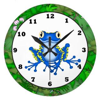 子供のジャングルのカエルの漫画の柱時計 ラージ壁時計