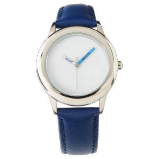 子供のステンレス鋼の青い革バンドの腕時計 腕時計
