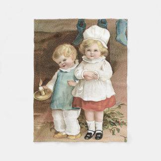 子供のストッキングのヒイラギの蝋燭 フリースブランケット