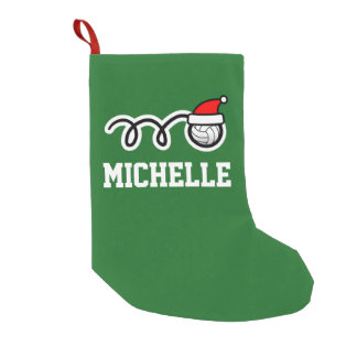 子供のスポーツのバレーボールのサンタの名前入りな帽子 スモールクリスマスストッキング