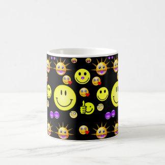 子供のスマイリーフェイスのマグの黒の背部 コーヒーマグカップ