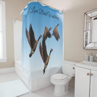 子供のデザインを一緒に飛ばしているカナダのガチョウ シャワーカーテン