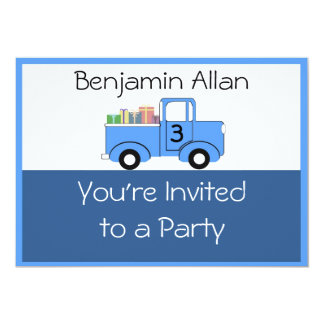 子供のトラックの誕生日の招待状 カード