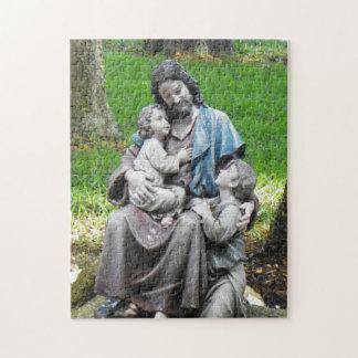 子供のパズルを持つイエス・キリスト ジグソーパズル
