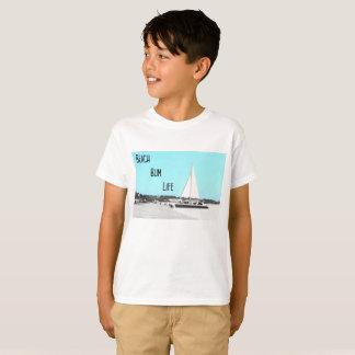 子供のビーチののらくら者の生命Hanes TAGLESS®のTシャツ Tシャツ