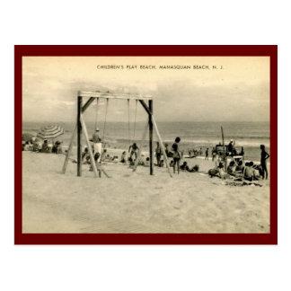 子供のビーチ、Manasquanのニュージャージーのヴィンテージ ポストカード