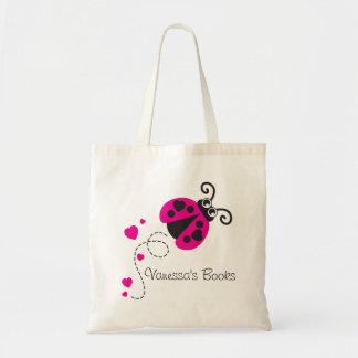 子供のピンクのてんとう虫/てんとう虫のハートの図書館のバッグ トートバッグ