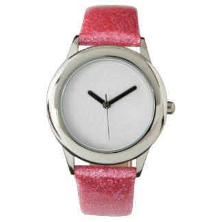 子供のピンクのグリッターの革紐の腕時計 腕時計