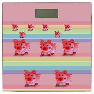 子供のピンクのブタの体重計 体重計