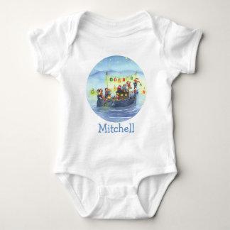 子供のベビーのワイシャツが付いているパーティーのボート ベビーボディスーツ