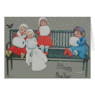 子供のベンチの鳥の雪の冬 カード