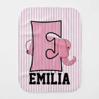 """子供のモノグラムのな""""E""""のピンク象 バープクロス"""