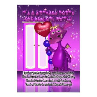 子供のモンスターの誕生日のパーティの招待状との カード