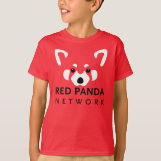 子供のレッサーパンダのワイシャツの赤 Tシャツ
