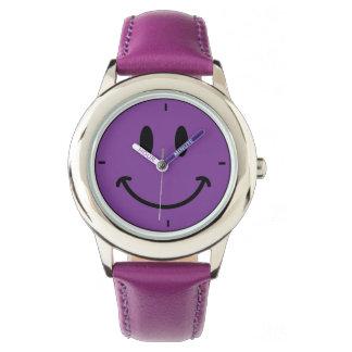 子供のレトロの紫色の幸せなスマイリーフェイスの革腕時計 腕時計