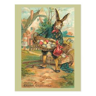 子供のヴィンテージのための卵が付いているイースターのウサギ ポストカード