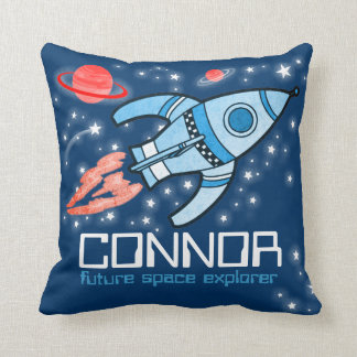 子供の一流のロケットの宇宙探検家の青の枕 クッション