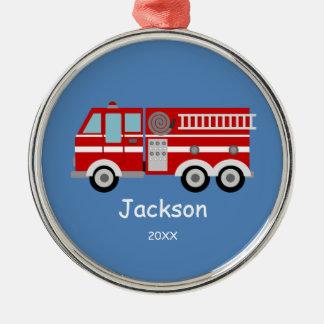 子供の名前入りで赤い普通消防車のクリスマス メタルオーナメント