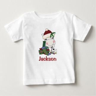 子供の名前入りなクリスマスのサンタのシマウマ ベビーTシャツ