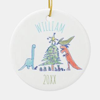 子供の名前入りな恐竜の休日のクリスマス セラミックオーナメント