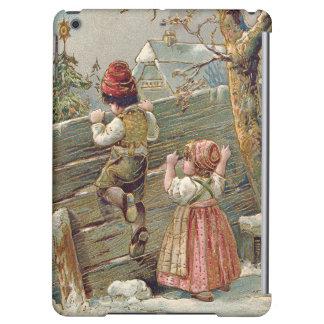 子供の塀のクリスマスツリーの冬のコテージ iPad AIRケース