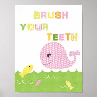 子供の女の子の浴室の芸術のブラシあなたの歯 ポスター
