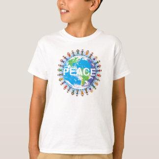子供の平和Tシャツ-手の地球を握っている子供 Tシャツ
