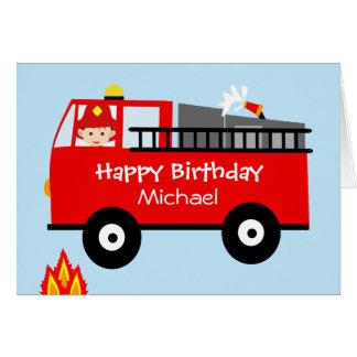 子供の普通消防車のPersonaloizedのバースデー・カード カード