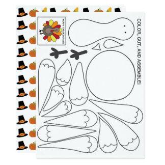 子供の活動の感謝祭カード 16.5 X 22.2 インビテーションカード