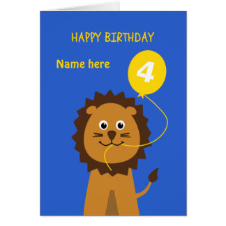 子供の第4誕生日のライオンは一流の青を加えます グリーティングカード