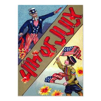 子供の米国市民米国旗の花火 カード