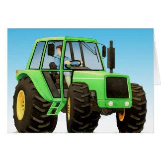 子供の緑のトラクター カード