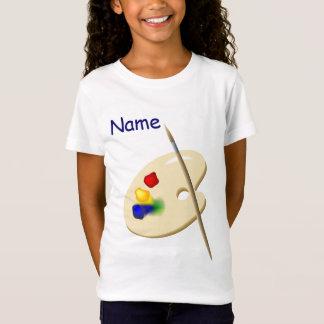 子供の芸術家のパレットの女の子のピンクのベビードールT Tシャツ
