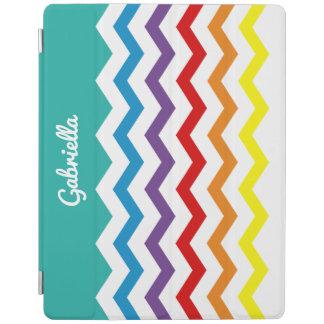 子供の虹のシェブロンのカラフルでかわいらしい名前入り iPadスマートカバー